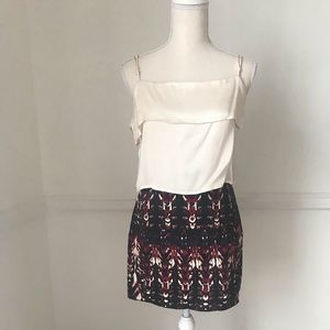 Patterned Structured Mini Skirt